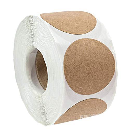 Non-brand 500 Stücke/Rolle Kraftpapier Runde Leere Aufkleber Klebstoff Craft Label