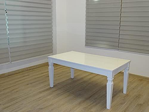 Mesa de cocina o comedor blanca brillante lacada resistente a los arañazos, ancho 160 cm