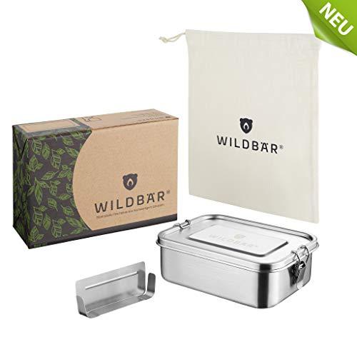 *WILDBÄR® | NEU | Dichte Premium Edelstahl Brotdose als innovatives Set. BPA- und plastikfreie Lunchbox mit Flexibler Abtrennung und Naturbaumwollbeutel. Nachhaltig, ideal auch für Kinder – 800ml*