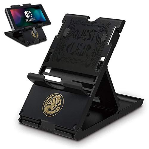 Soporte de juego compatible con Switch / Switch Lite con 7 tarjetas, diseño de Monster Hunter, negro, ajustable, plegable