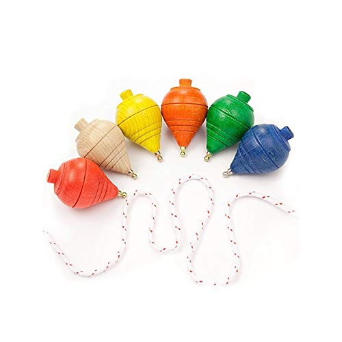 DISOK Lote de 20 Peonzas de Madera de Colores - Regalos y Detalles para Comuniones, Niños, Niñas, Fiestas de Cumpleaños, Baratos. Trompas