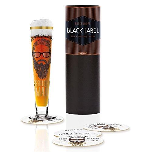 RITZENHOFF Black Label Bierglas von Alice Wilson, aus Kristallglas, 300 ml, mit fünf Bierdeckeln