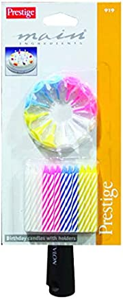 Prestige Birthday Candles with Holder 24 Pieces - PR919, Multi Color