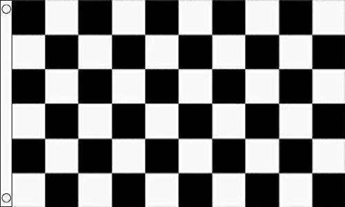 Bandera de Cuadros Blanco y Negro, 1,5 m x 0,9 m