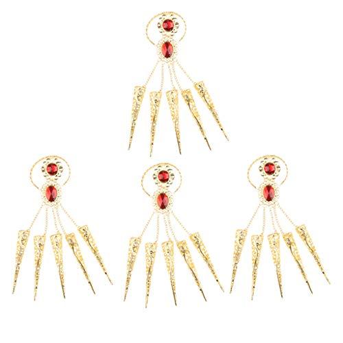 Colcolo Pulseras de Danza Del Vientre Pulsera de Cadena de Mano de Oro Decoración de Manos de Danza Del Vientre