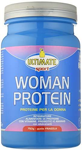 Ultimate Italia Woman Protein – Proteine Specifiche per le Donne - Proteine Isolate di Soia e Albume, con Estratto di Ananas, Vitamine, Prebiotici – Favoriscono il Dimagrimento, Fragola, 750 g