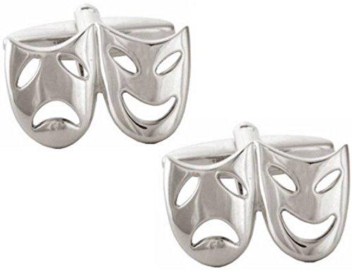Argent masque de théâtre boutons de manchette de David Van Hagen