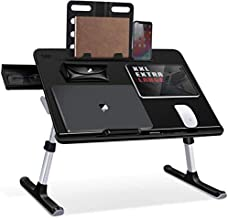 Laptop Bed Tray Table, SAIJI Adjustable Bed Desk for Laptop, Foldable Laptop Stand with Storage Drawer for Eating, Working, Writing, Gaming, Drawing (X-Large,Black)