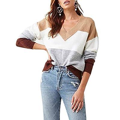 Amazon - Save 60%: Cogild Women's Pullover Sweaters Long Sleeve Crew Neck Color Block Loose C…