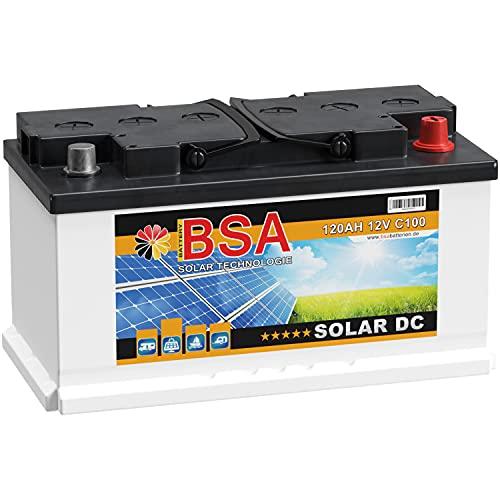 BSA Solar DC 12V 120Ah Batterie Solarbatterie Versorgungsbatterie Boot Wohnmobil (120Ah)
