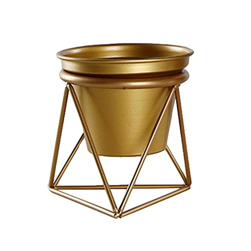 Gouden bloempot geometrisch ijzeren rek houder metaal staander goud met pot binnenpot voor desktop tuin pot voor succulents kruiden cactus planten vensterbank decoratie Bonsai Small goud