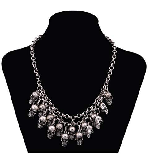 SUNMM Esqueleto De Pirata De Halloween Collares Y Colgantes Punk Llamativos Cráneo Collar De Niñas para Mujeres En Collares Pendientes
