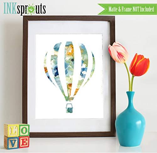onbekend Wall Art Aquarel Hot Air Balloon hout teken Aquarel silhouetten, ballon, De plaatsen die je gaat, Kwekerij hout teken Vervoer, Item WC011A houten plaque, aangepaste gift