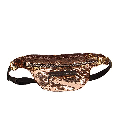 XGQ Bolso de Cintura de Lentejuelas Bolso de Maquillaje de Doble Color Bolso de Sirena Paquete de Cofre Bolso de Mujer móvil Que viaja for Mujer (Luz Azul Hielo) (Color : Mocha Gold)