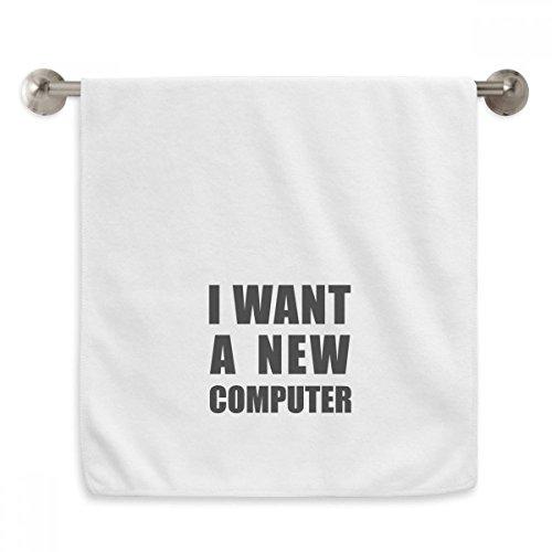 DIYthinker Toalla de Lavado con diseño de círculo Blanco con Texto en inglés I Want A New Computer Circlet, 33 x 73 cm