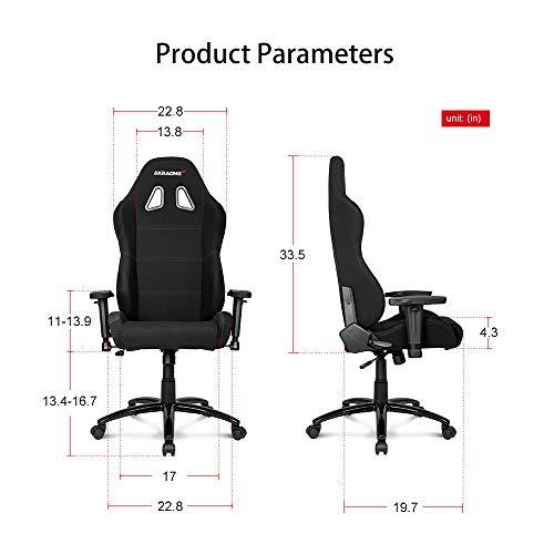 AKRacing Core Series EX-Wide Gaming Chair with High Backrest, Recliner, Swivel, Tilt, Rocker & Seat Height Adjustment Mechanisms, 5/10 Warranty - Black - Standard Edition