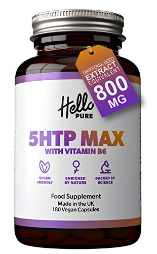 5HTP MAX 5 HTP 800mg Griffonia Seed Extract Equivalent - New Branding Same Formulation - 180 5-HTP Capsules (not Tablets) with Vitamin B6 – 5-HTP - 100mg from 800mg Griffonia Seed Extract