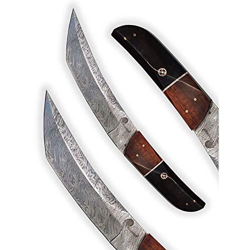 DELLINGER Tanto Ebony Snake & Damastmesser & Damaststahl Messer & Outdoor Jagd Damastmesser 180 mm Klinge & inklusive Lederscheide