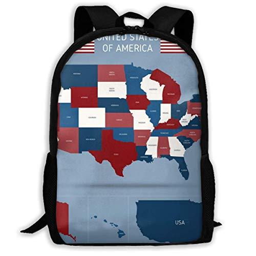 Schulrucksack Politische Karte von USA-Plakat Rucksack wasserdichte Schultaschen Durable Travel Camping Rucksäcke für Jungen und Mädchen