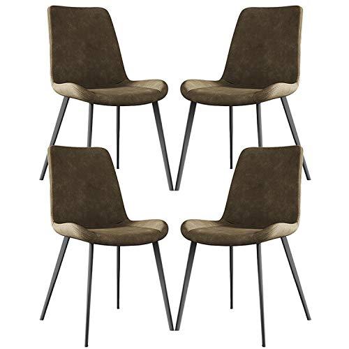 zyy Sillas Comedor Conjunto de 4 Clásico Sillas de Comedor de Cocina con Patas de Metal Asiento y respaldos de Cuero PU for sillas de Restaurante (Color : Brown)