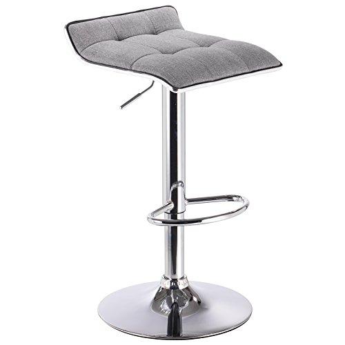 WOLTU BH33hgr-1 Design Hocker Barhocker, stufenlose Höhenverstellung, verchromter Stahl, Antirutschgummi, Leinen, gut gepolsterte Sitzfläche, Hellgrau