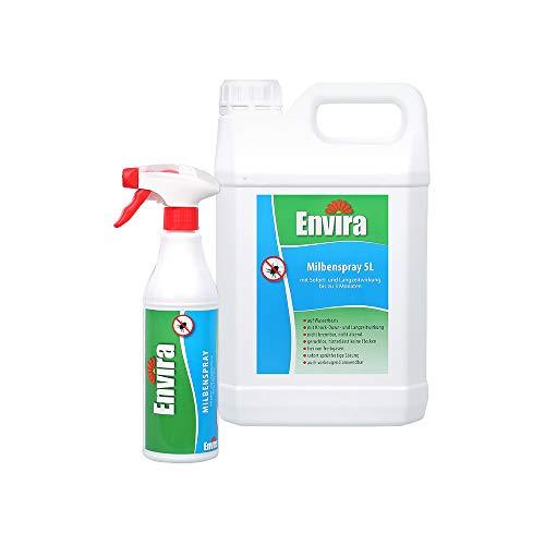 Envira Milben-Spray - Anti-Milben-Mittel Mit Langzeitwirkung - Geruchlos & Auf Wasserbasis - 500 ml + 5 Liter