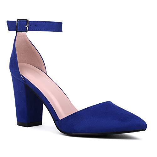 J.STIEN Damen-Fußgelenkgurte D'Orsay spitzer Zehenblock, Blau (Königsblaues Nubukleder), 37 EU