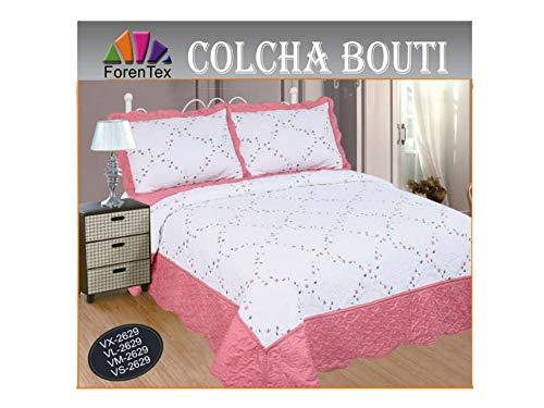 ForenTex Colcha Cama 150 VL-2629 Cubrecama Bordada Cosida Primavera/Verano/otoño, Rosa, 250x260 cm+2/50x70 Funda Cojines, 3