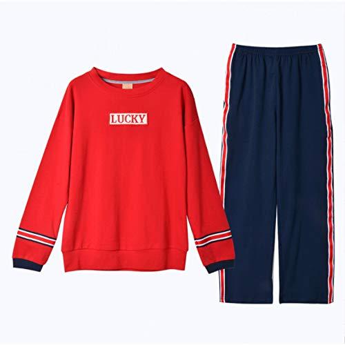 FLORVEY Pijama Pijamas de Mujer con Cuello en V con Costura de Encaje Nuevo pantalón Corto de Dos Piezas a Cuadros Traje Ropa de Dormir de algodón Suelta