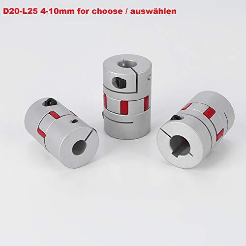 D20-L25 Bohrungsgröße 4-10mm 4 5 6 6.35 8 9 10 mm flexibel Wellenkupplung CNC Schrittmotoren 3D Druck oberflächenoxidierung-Behandlung aluminum flexible shaft coupling motor connector (9mm)