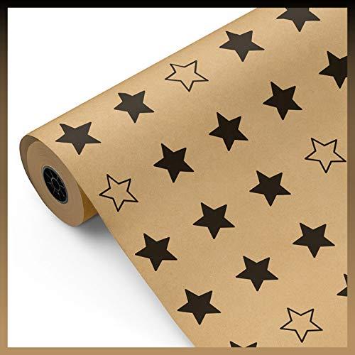 Rollo papel de regalo KRAFT Estrellas negras, 1ª calidad • Bobina grande 62cm x 100m • Ideal para: Tiendas Negocios Comercios Envolver regalos Cumpleaños Baby Shower Bodas Decoración [FP Fiesta Paper]