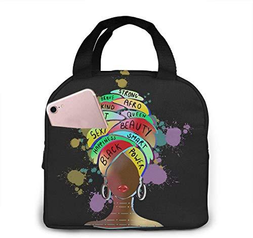 Melanin Queens Black Girl Magic Lunch Bag Cooler Bag Mujer Tote Bag Fiambrera aislada Fiambrera térmica Resistente al agua Bolsa de almuerzo con forro suave Bolsas de almuerzo para mujer / P