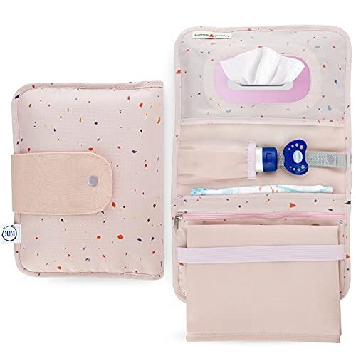 Jubi® Windeltasche mit Wickelunterlage für unterwegs mit extra viel Platz- Kleine Wickeltasche - Rosa mit Konfetti