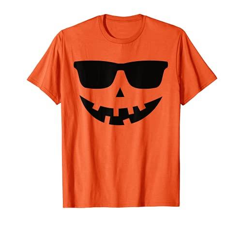 Calabaza con Gafas Disfraz Halloween Hombre Mujer Niños Camiseta