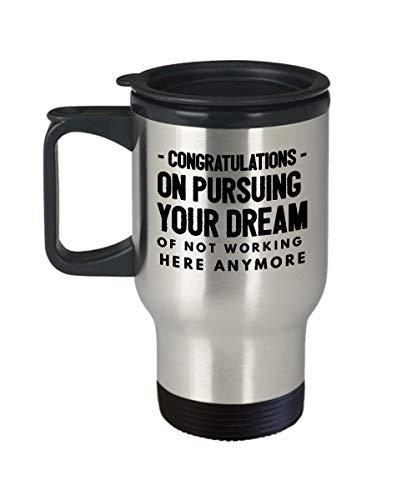 Mesllings Travel Mokken Grappige Gefeliciteerd Het verlaten van Colleague Boss Gifts Beste Koffie Thee Cup Vriend Pensioen baas Vaarwel voor het weggaan Dank U Laat Chocolade Mannen Vrouwen hem haar Werk