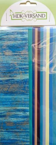 10 Wachsplatten Bunt Mix Grösse ca. 200x50x0,5mm Bunt sortiert , Verzierwachs, Wachs (Blau Mix 4)
