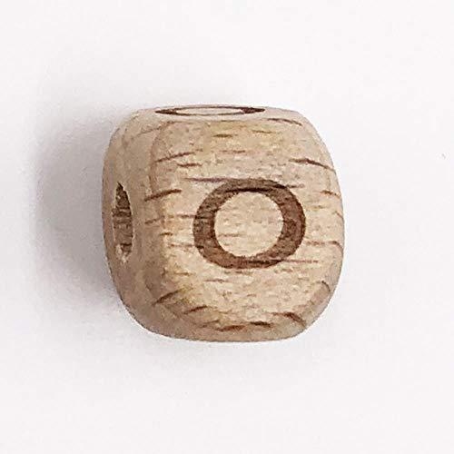 26 piezas de cuentas cuadradas con letras del alfabeto, de madera de haya, letras AZ, cuentas espaciadoras de madera para mordedor de bebé, clip para chupete, joyería DIY-O, 26 piezas, 12 mm
