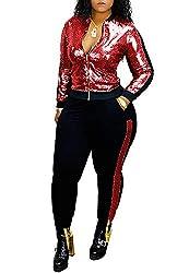 5148-Red Long Sleeve Top+Metallic Shiny Pants Jumpsuit