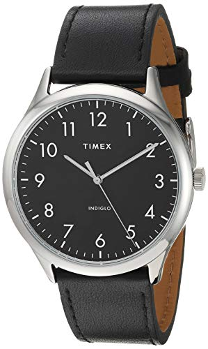 Timex Men's TW2T71900 Modern Easy Reader 40mm Black/Silver Genuine Leather Strap Watch