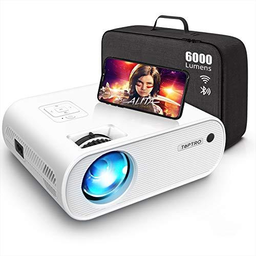 Proiettore Bluetooth WiFi, TOPTRO Mini Proiettore Portatile 6000 Lumen con Supporto HD 1080P [Contiene Borsa Portaoggetti], Home Theater Multimediale, Zoom X / Y, per TV Stick /PC / HDMI / AV / USB…