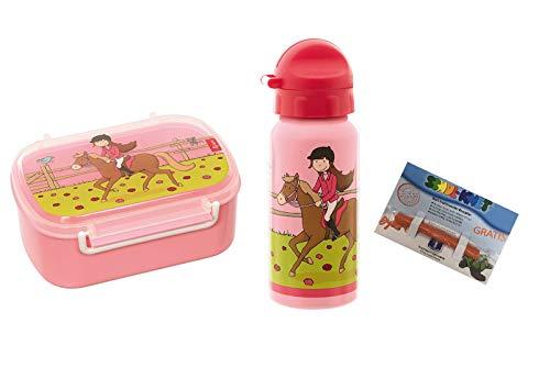 Sigikid Lunchbox und Trinkflasche Gina Galopp rosa + Knete