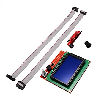 Zamtac 1pc 12864 LCD Display Controller with 30cm Cable + Adapter for 3D Printer Ramps 1.4 Reprap Guru