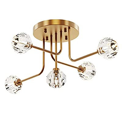SEOL-LIGHT Retro Brass Crystal Ball Branches Close to Ceiling Lighting Fixture Polished Gold Flush Mount with 5 Light 200W for Living Room,Bedroom