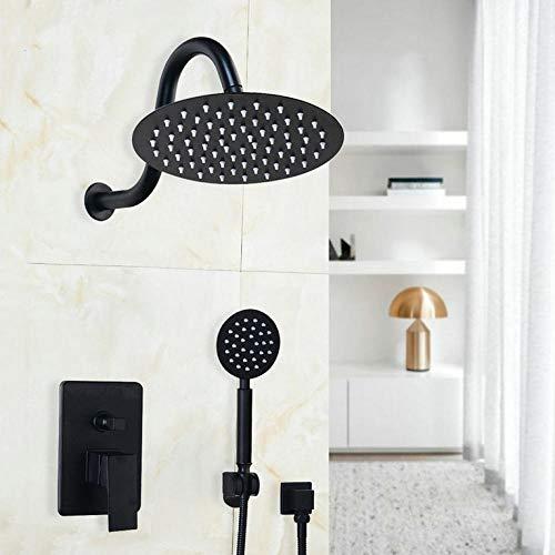 Gnailur 8 pulgadas Negro Pintura Cabeza redonda Techo Techo Baño de lluvia Conjunto de grifo de ducha Montaje de pared Ducha Mano de Mano 2 Funciones Juego de Ducha