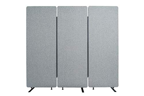 Luxor Reclaim Acoustic Room Dividers - 3 Pack in Misty Gray