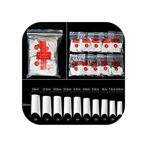 500 Stück/Beutel Acryl C gebogene Form Faux Ongles Künstliches UV-Gel Nail Art Tipps Gefälschte Nägel Klare weiße natürliche französische falsche Nägel-C type White-