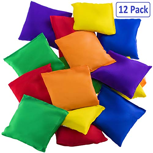 Prextex 12 Pack Nylon Bean Bags Fun Sports Outdoor Family Games Bean Bag Toss Carnival Toy Bean Bag Toss Game