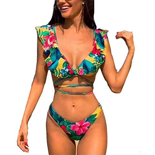 Yutdeng Costume da Bagno Donna, V Profonda Bikini Balze Spalline 2 Pezzi Sexy Brasiliana Push Up Reggiseno Imbottito Stampato a Fiori Swimsuit Swimwear Estivo