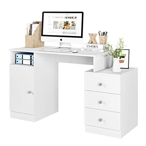 Homfa Mesa Escritorio Mesa Ordenador Mesa Oficina Escritorio Blanco con 3 Cajones 1 Puerta y Tapa Pasacables para Estudio Despacho Madera 133x50x75.5cm