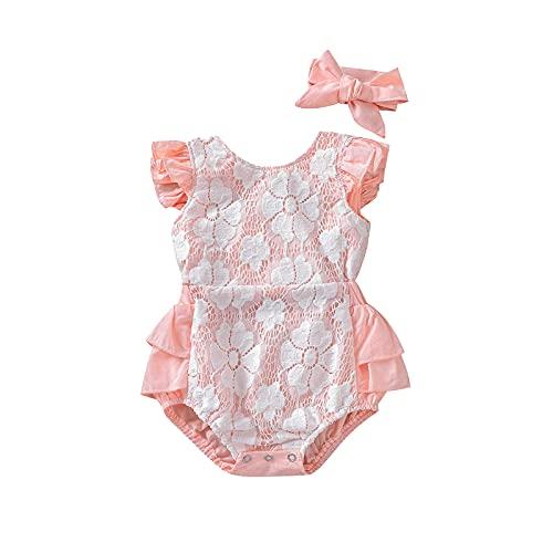 Body Completo para bebés 0-24 Meses 2 Piezas Romper con Espalda Descubierta Estampado Floral Sin Mangas con Encaje Princesa Plisado Diadema Botones Lindo Dulce Verano (Rosa, 6-12 M)